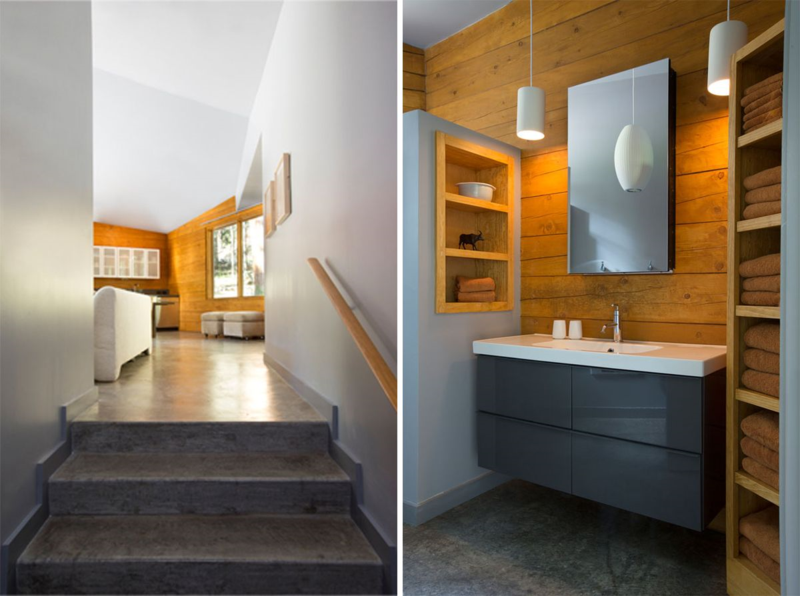 Pecos River Modern Cabin - Stair and Bathroom