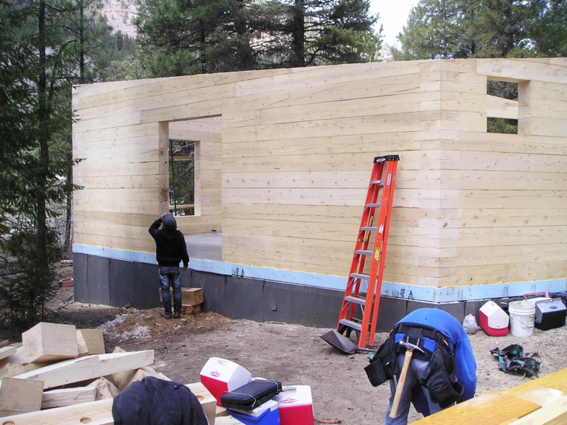 Pecos Modern Log Cabin - Completed South Wall